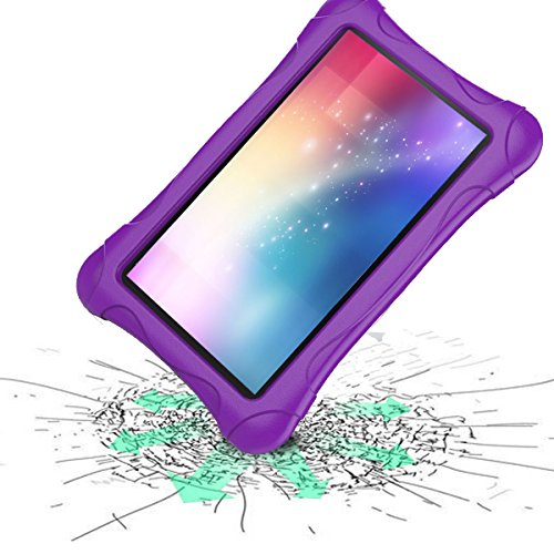 Kids Case for Fire 7 Tablet (7th Generation, 2017 Release), LTROP EVA Super Protective Fire 7 Case for Kids, Anti-Slip Light Weight Shock-Proof 2017 New Fire 7 Tablet Case – Purple Photo #1
