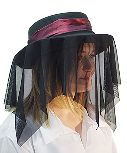Karnival Steampunk-Whitby-Victorian-Edwardian Hat, Hat Band & Drape Beautiful Black Mesh Hat Accessory Set One Size Fits All