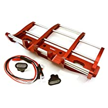 Integy RC Model Hop-ups C27116RED CNC Alloy Front Bumper w/ LED for Tamiya 1/14 King Hauler & Globe Liner