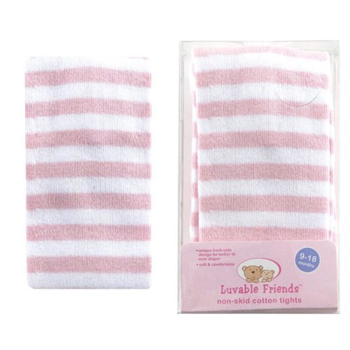(Luvable Friends Patterned Cotton Tights, Pink Stripe, 0-9)