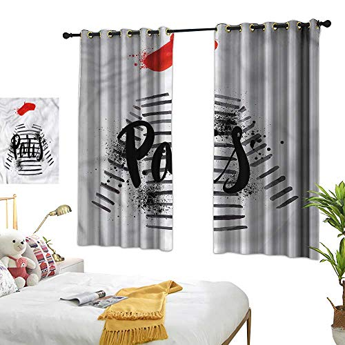 - Printed Curtain Girls Decor Curtains by French Beret Striped Sweater 63