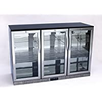 54 Wide 3-door Stainless Steel Back Bar Beverage Cooler, Counter Height