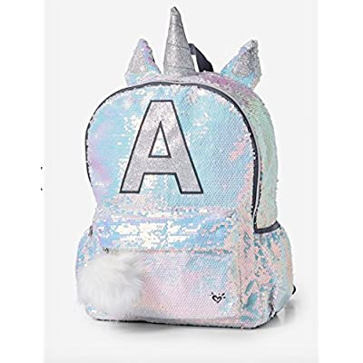 84e1f9d601 chic Justice Backpack sequin Unicorn letter initial - cosplaymagazine.it