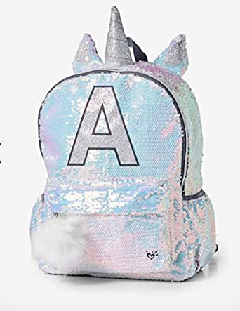 Amazon.com   Justice Backpack sequin Unicorn initial A
