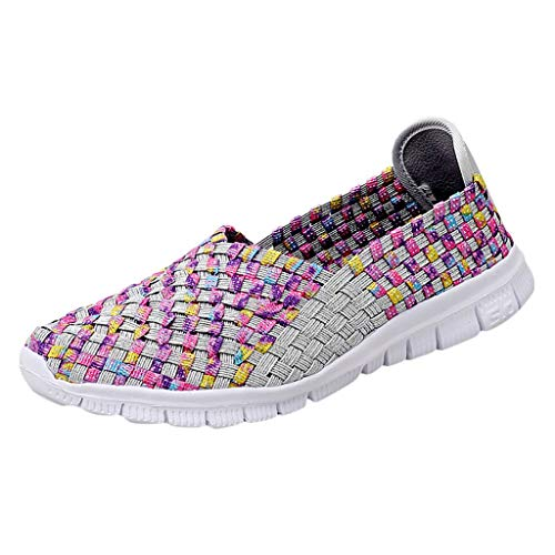 TnaIolral 2019 Women Breathable Shoes Flats Beach Shoes Woven Summer Running Shoes (US:8, Silver)