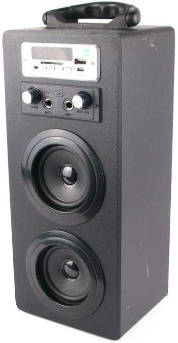 Mini Torre de Sonido NK-MT3242-BT - Micrófono Karaoke, Bluetooth, Mando a Distancia, Doble Entrada Micrófonos, AUX, USB, DC5V, Pantalla, Negro
