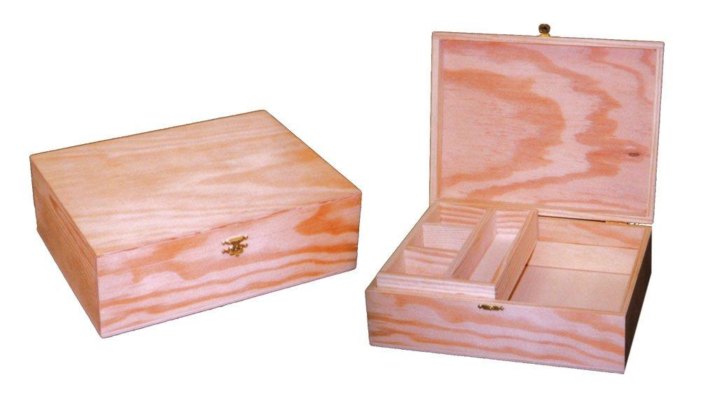 Caja joyero Recta. En Madera Crudo, para Pintar. Manualidades y decoración: Amazon.es: Hogar