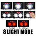Soft Digits Headlamp Flashlight, 800 Lumens Ultra Bright USB Rechargeable Headlight, 8 Modes Work Light, Waterproof Head Lights with Motion Sensor and Built in Batteries for Outdoors, Household, 2Pack