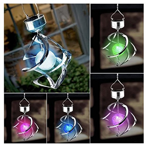 Solar Powered 7 Colors Changing Wind Chime Courtyard Hanging Moving Rotating LED Light by Meihuida by Meihuida