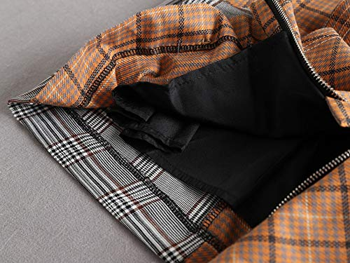 Fina Irregular 3d Falda Irregular Escocesa Alta De Mujer L Cremallera Lateral Faldas Cintura La Tela Metálica Qzbtu Tz8q77