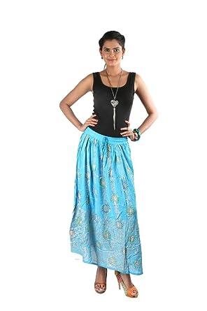 Indiankala4U - Falda - Mujer Azul Azul Celeste 60 Más: Amazon.es ...
