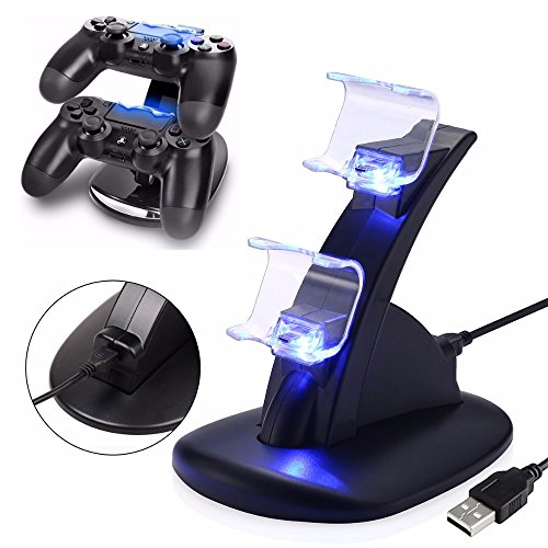 IHK DualShock 4 Dual USB Charging Dock Charger Docking Station Stand for Sony Playstation 4 PS4 / PS4 Pro / PS4 Slim Controller with Cable by H3GRUP