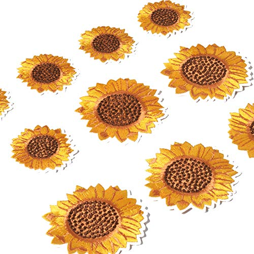 SHELCUP 10 Pieces Sunflower Patch Flower Embroidered Patches DIY Cloth Applique Decoration