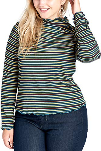 Striped Edge - Women's Junior Plus Size Turtle Neck Striped Top with Lettuce Edge Teal 1X