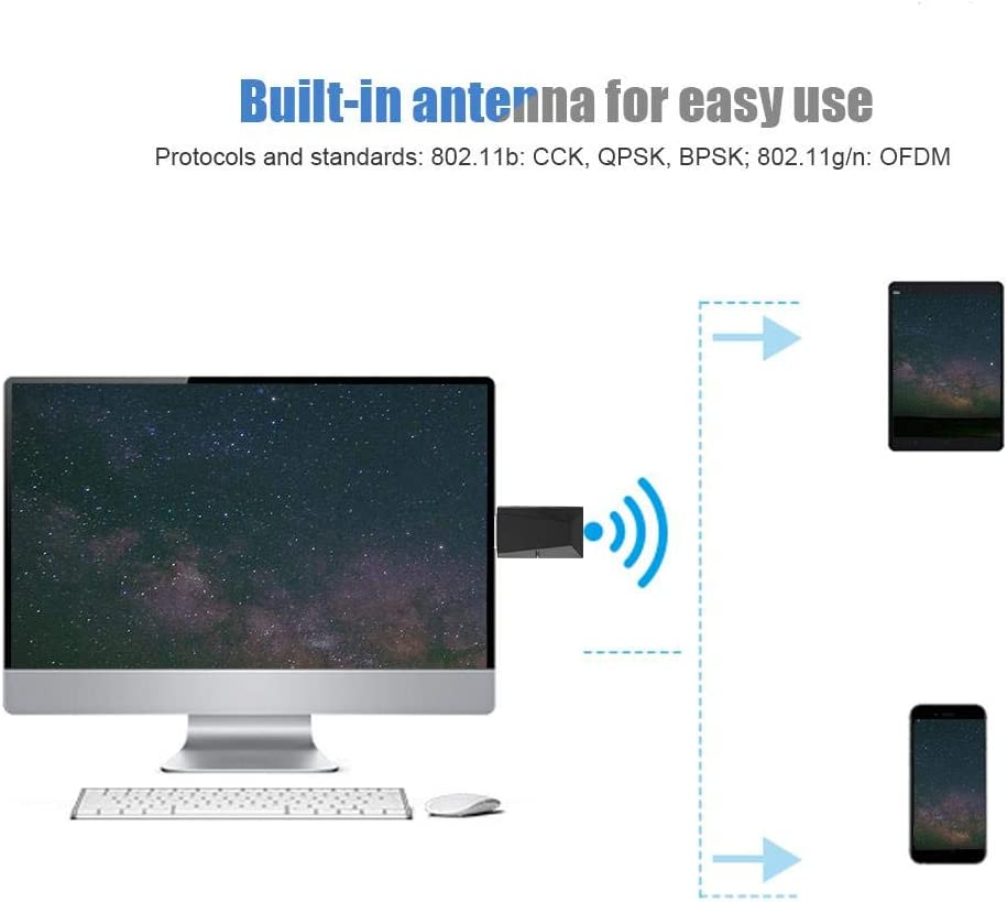 Wendry Desktop Wireless Network Card,300mbps Maximum Transfer Rate,Strong Compatibility,Built-in Antenna for MT7603 USB High-Power 300M WiFi Dongle Adapter Desktop Wireless Network Card