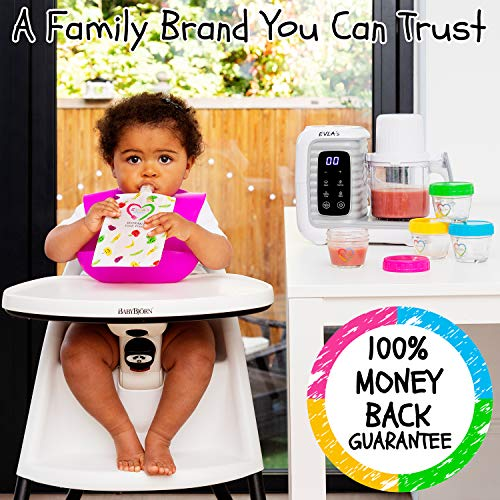 51G9slh4j3L - Baby Food Maker | Baby Food Processor Blender Grinder Steamer | Cooks & Blends Healthy Homemade Baby Food In Minutes | Self Cleans | Touch Screen Control | 6 Reusable Food Pouches (White Double)