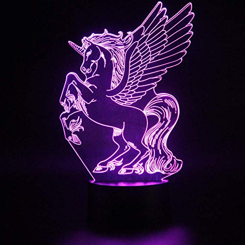 - 3D Unicorn Nightlight Optical Illusion Touch Lamp, 7 Color Change LED Projector Remote Night Light Baby Nursery Kid's Room Desk Table Decor Fairy Tale Birthday Party Gift Lighting Decoration