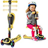 Scooter For Kids with Folding Seat – 2-in-1 Adjustable 3 Wheel Kick Scooter for Toddlers Girls & Boys – Fun Outdoor Toys for Kids Fitness, Outside Games, Kid Activities – Y200 (Yellow, Scooter)