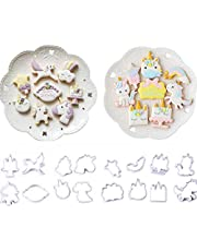 16 Pack Mini Fantasy Unicorn Cookie Biscuit Fondant Cake Mold,Unicorn Cookie Cutter Fondant Mold Set - Fondant Cupcake, Cake Decorating in Magic Unicorn or Fantastic Unicorn Theme Parties