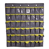 JIAHG Over Door Hanger Wall Door Hanging Storage Wardrobe Organizer Shoes Underwear Socks Organizer Home Sundry Daily Supplies Storage Pouch with 30 Pockets (gray(45 Pockets))