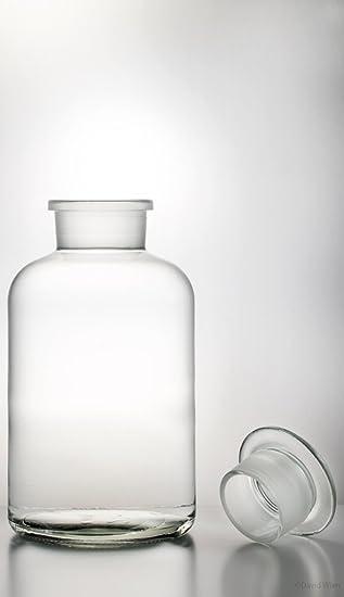 Farmacia Botella 1000 ml transparente. Incluye tapón de cristal – cristal para especias, 5