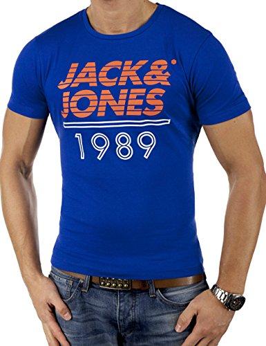 JACK & JONES FLAG Herren T-Shirt kurzarm Shirt Oberteil 2034 Slim Fit (Medium (Herstellergröße: M), Blau)