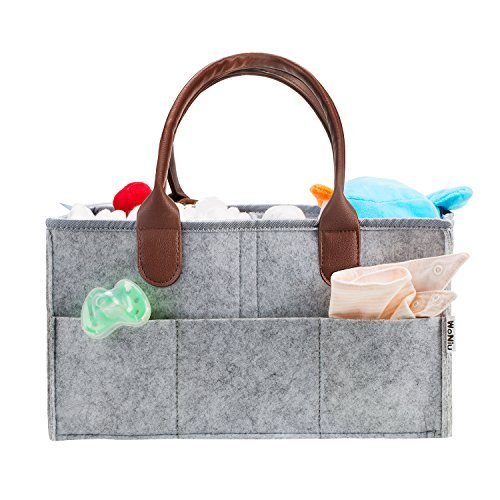 Baby Diaper Caddy Organizer - WoNiu MOM Nursery Wipes Storage Tote Bag Organizer Baby Shower Gift Basket for Changeable Compartments (Grey)