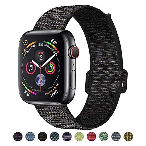 VATI Compatible for Apple Watch Band 38mm, Soft Nylon Sport Loop, with Hook and Loop Fastener, Replacement Band Compatible for iWatch Series 4/3/2/1, Black (with - Sports Watch Gm Series