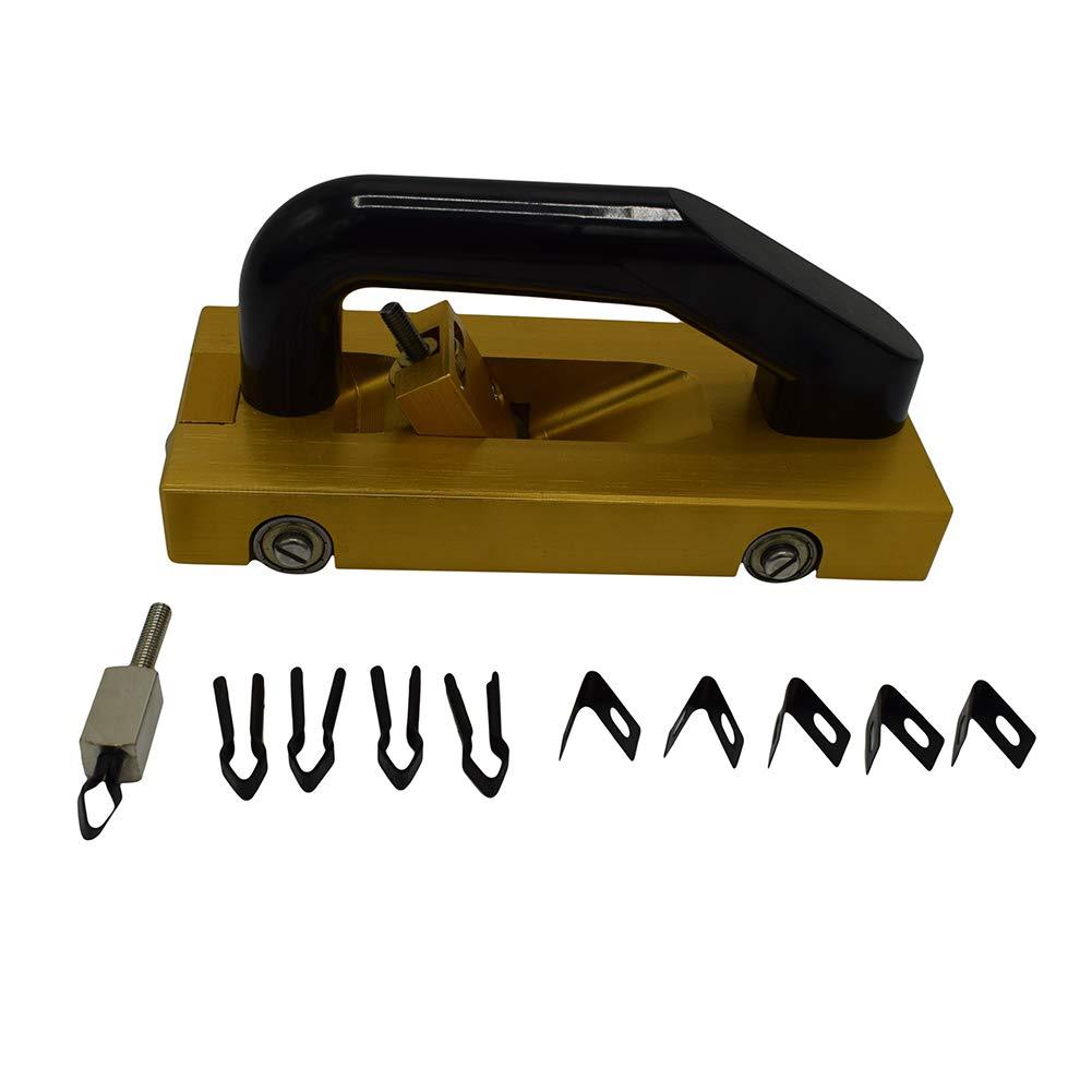 NEICOTOOLS PVC Vinyl Flooring Wheeled Super Hand Groover, Flooring Guide Wheel Hand Grooving Tool Slotting Machine for Welding PVC Plastic Flooring and Sport Flooring(5pcs U blades and 5pcs V blades) by NEICOTOOLS