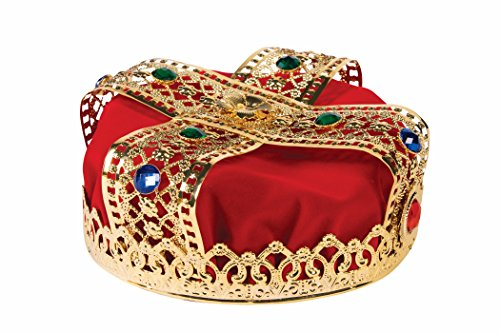 Red Gold Jewel Crown King Queen Royalty Fancy Dress Halloween Costume Accessory