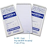 "Portage Reporter's Notebook, #200 Gregg Ruled, 70 Sheets, 4"" x 8"" (3 Pack)"