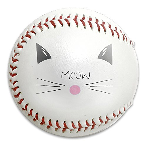 Cat Genie Costume (Cute Cat Face Meow Size 9 Safety Soft Baseballs Bullet Ball Training Ball White)