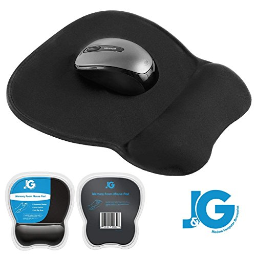 J&G MODERN COMPUTER ACCESSORIES Mouse Pad with Wrist Support, Rest | Ergonomic | Black | Eliminates All Pains, Carpal Tunnel or Any Other Wrist Discomfort! Non-Slip Base & Stitched Edges. (Best Wrist Position For Mouse)