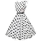 39 girls golf clubs - ManxiVoo Womens Party Dresses Polka Dot Rockabilly Swing Dress 50s Style Vintage A- Line Skirt Stretchy (S, White 3)
