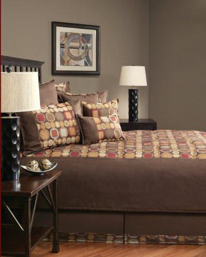 Sherry Kline Metro Spice Suede Comforter Set, Queen,Brown, 8 Piece