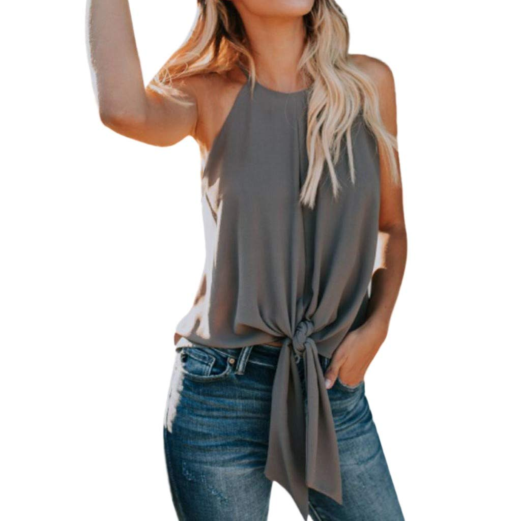 nanzhushangmao Tank Tops Womens Loose Blouse Short Sleeve V Neck Button Down T Shirts Tie Front Knot Casual Summer SleevelessTops Gray