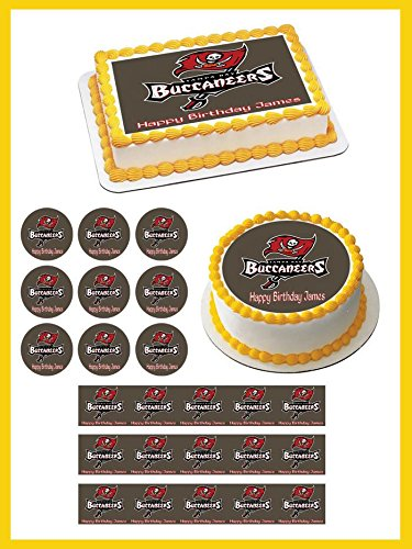 Tampa Bay Buccaneers Edible Birthday Cake OR Cupcake Topper - 1.8' cupcake (20 peaces/sheet) inches ()