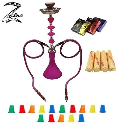 "Zebra Smoke Series: 21"" 2 Hose Medium Jewel (A1) Hookah Complete Set Combo KIT w/Instant Charcoal (Like Three Kings Charcoal), Zebra smoke: Tanya Series (Purple)"
