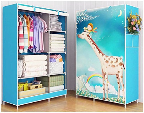 HomeTown Market A Portable Cloth Cabinet, Storage Or Wardrobe (5.57FT X 3.4FT X 17.7Inch). A Quality Cloth Organizer, Closet for Kids, Boy and Girl (Giraffe)