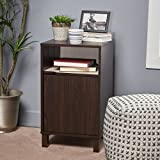 Miya Single Shelf Walnut Finished Faux Wood Cabinet with Sonoma Oak Interior