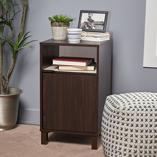 Miya Single Shelf Walnut Finished Faux Wood Cabinet with Sonoma Oak Interior by Great Deal Furniture