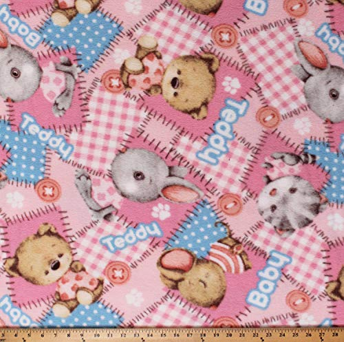 Fleece Fabric Baby - Fleece Teddy Bears Stuffed Animals Bunnies Kittens Mouse Teddies Babies Toys Baby Girls Pink Patchwork-Look Fleece Fabric Print by The Yard (A336.14)