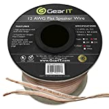 GearIT Elite Series 12AWG Flat Speaker Wire (100 Feet/30.4 Meters) - Oxygen Free Copper (OFC) CL2 Rated In-Wall Installation for Home Theater, Car Audio, and Outdoor Use, Clear