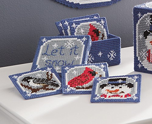 Let It Snow Coasters and Holder Plastic Canvas Kit - Set of 6