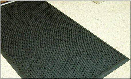 "Rhino Mats US3696 Recycled Heavy-Duty Rubber Tritan Ultra Scrape Multi Purpose Mat, 3' Width x 8' Length x 1/4"" Thickness, Black"
