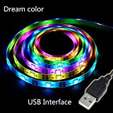 Simfonio LED Lighting Strip 5V 1M 3.28Ft SMD 5050 RGB 30leds 30 Pixel WS2812B IC Dream Color Waterproof USB Light Kit with Mini Controller