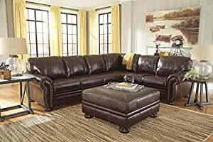 Banner Coffee Color Traditional Classics High-quality Leather Sectional Sofa With Ottoman