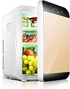WYMESW Portable Mini Refrigerator,Electric Cooler&Warmer,Compact Car Fridge Cooler Digital Thermostat,Wine Cooler for Camping Outdoor-Golden 30x24x35cm(12x9x14inch)
