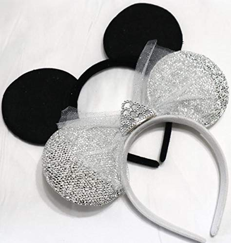 CLGIFT Set of wedding mickey mouse ears headband,