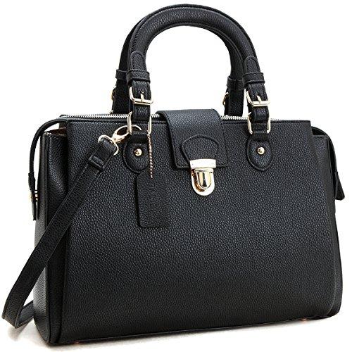 MKY Multi Pocket Purse Satchel Large Triple Compartment Handbag Push Lock w/ Shoulder Strap Black Pocket Large Handbag